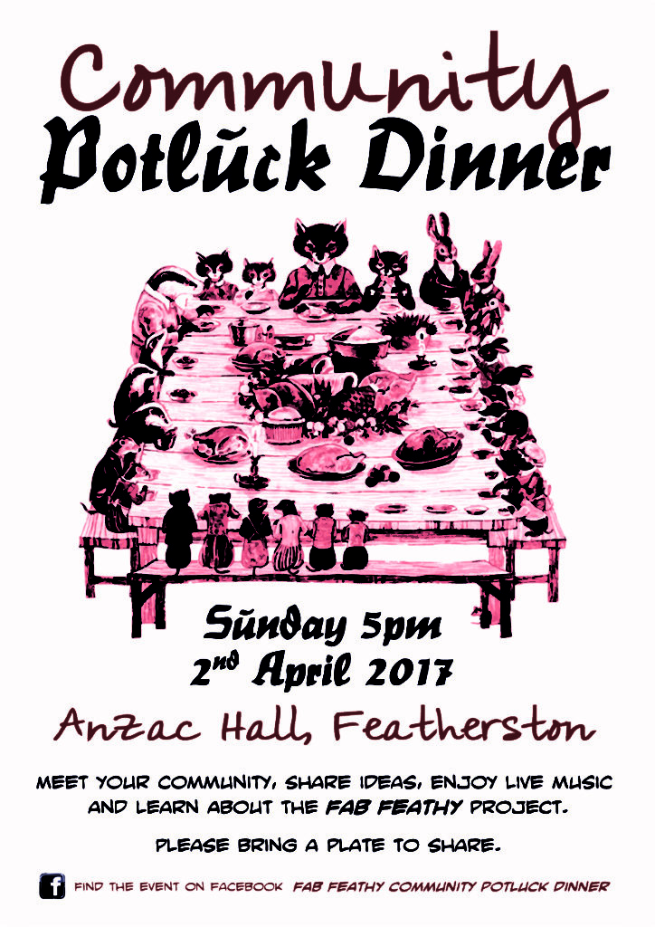 Fab Feathy - Potluck Poster